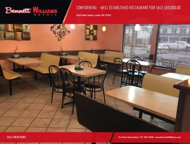 CONFIDENTIAL - WELL ESTABLISHED RESTAURANT FOR SALE
